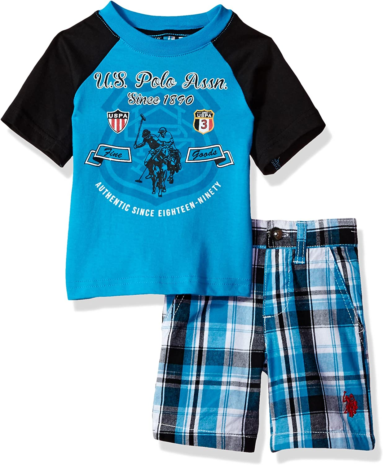 U.S Polo Assn Baby Boys Graphic T-Shirt with Plaid Short Set