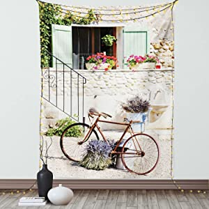 Ambesonne Bicycle Tapestry, European French Mediterranean Rural Stone House with Bike Countryside Provence Day, Wall Hanging for Bedroom Living Room Dorm Decor, 60