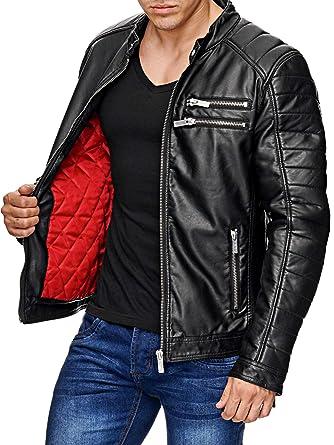 Red Bridge Hombres Chaqueta Cuero Sintético Transición Moda Cuero Jackets