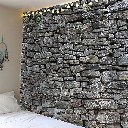 Didihou Faux Brick Print Wall Tapestry Gothic Hippie Mandala Tapestries Hanging Decor Bedding