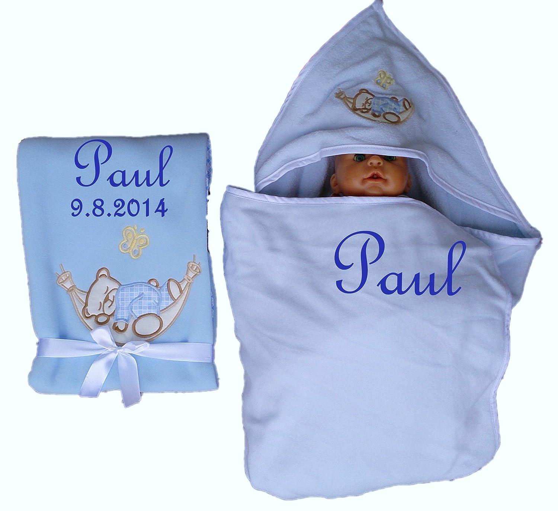 Juego de techo bebé + Toalla con capucha bordada con nombres regalo Baby Bautizo: Amazon.es: Bebé