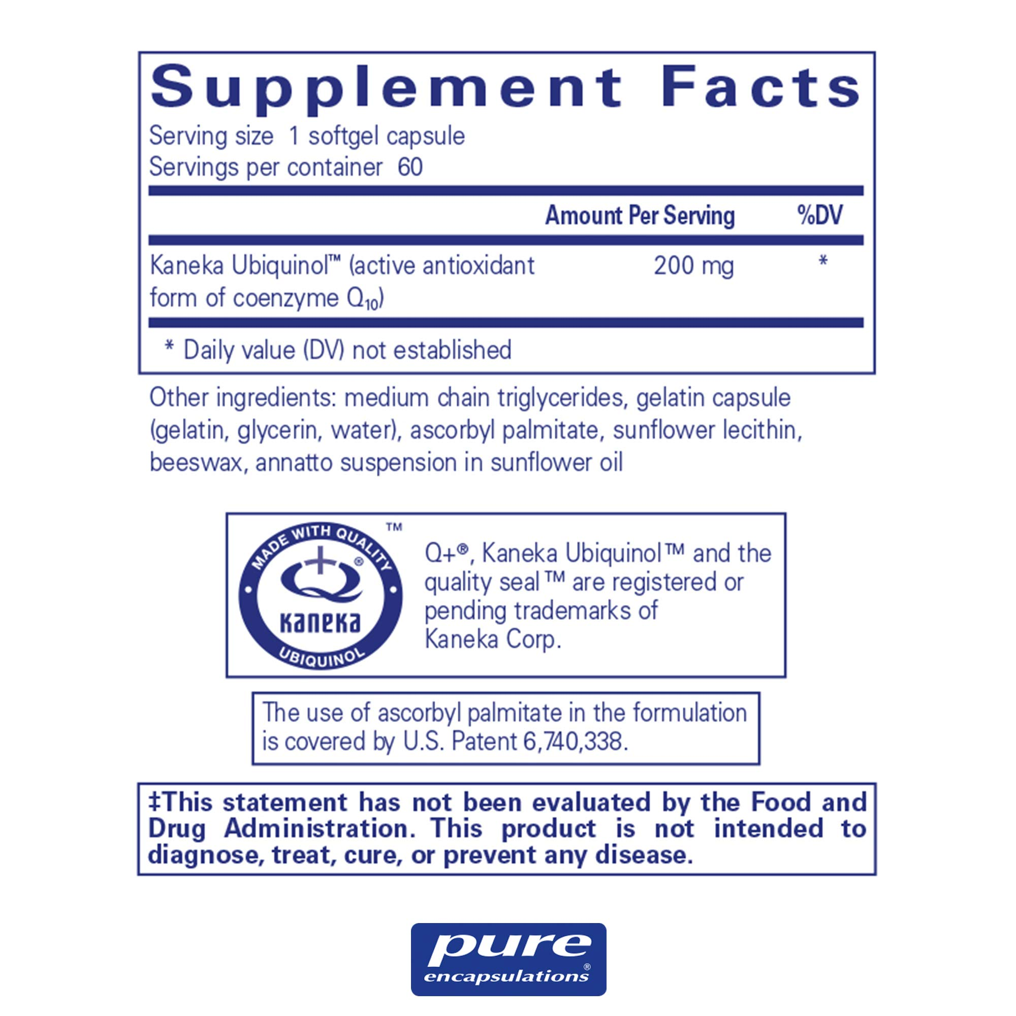 Pure Encapsulations - Ubiquinol-QH 200 mg - Hypoallergenic Supplement - Active Antioxidant Form of CoQ10-60 Softgel Capsules by Pure Encapsulations (Image #2)