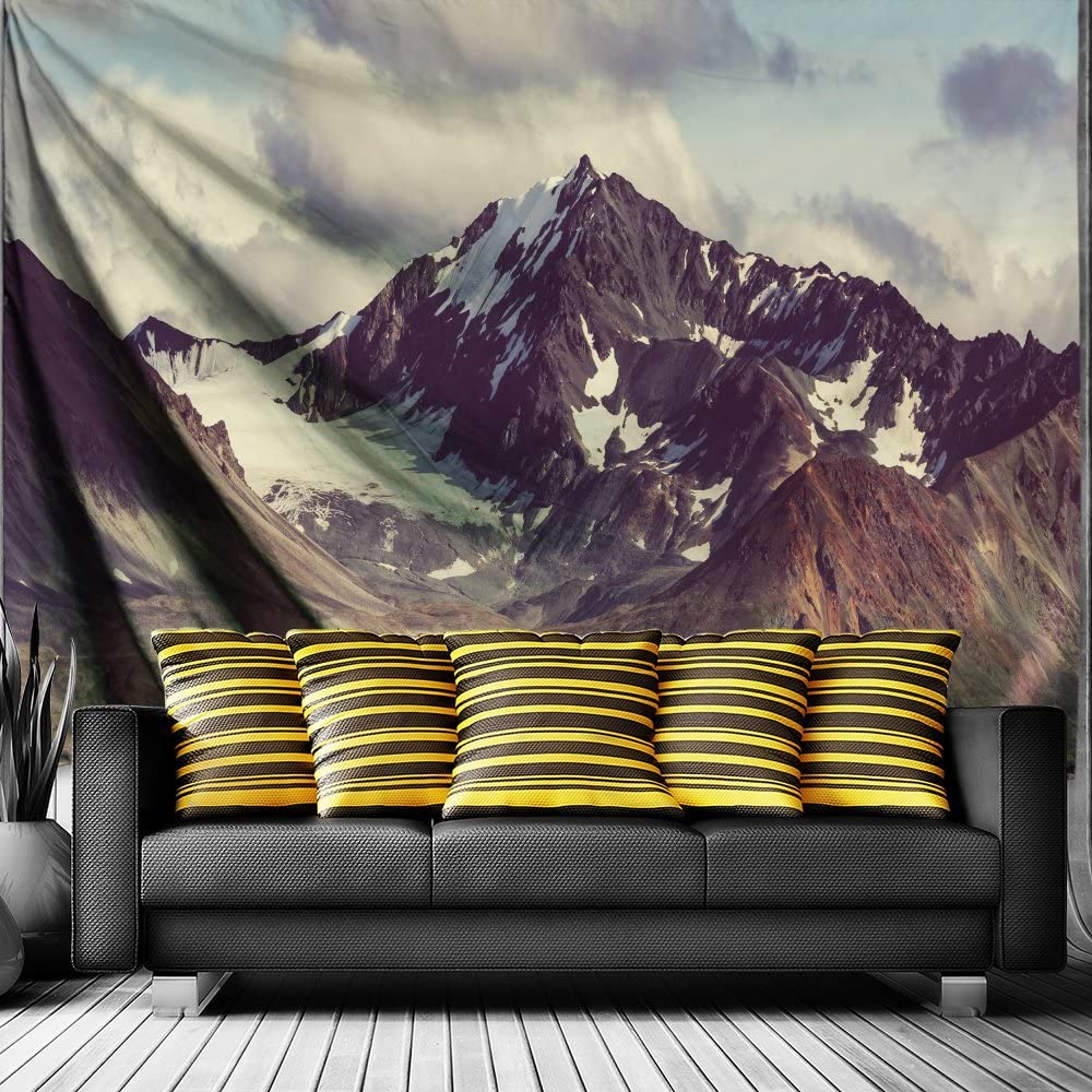 """QiyI Wall Hanging Nature Art Fabric Tapestry for Dorm Room, Bedroom, Living Room Landscape Beach Sheets Boho Home Decorations Mountains Tapestries - 60"""" L x 51"""" W (153cmx130cm), Alaska"""