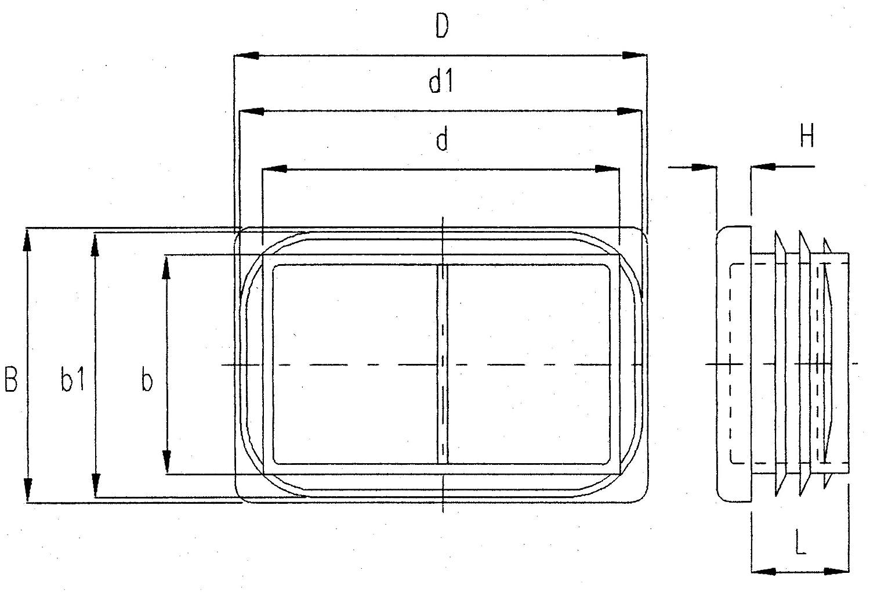 Lamellenstopfen ALLE GR/Ö/ßEN W/ÄHLBAR 20x10mm bis 180x60mm Rohrau/ßenma/ß: 60x20mm, Rohrwandst/ärke: 1,5-2mm, Schwarz Schutzkappen 10 St/ück Rechteck-Rohrstopfen Rechteckstopfen M/öbelgleiter