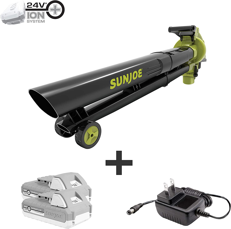 Sun Joe 24V-X2-BVM143-LTE Cordless Blower Vacuum Mulcher, Kit (w/ 2 x 2.0-Ah Batteries + Quick Charger)