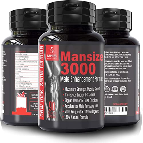 Mansize 3000 Male Enlarger XL 100 Natural Performance Amplification Supplement – Male Testosterone Booster, Stamina, Endurance, Strength Booster Male Growth Pills – Mood Enhancer 90 Veggie Capsules