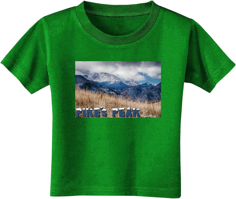 TOOLOUD Pikes Peak CO Mountains Text Toddler T-Shirt Dark