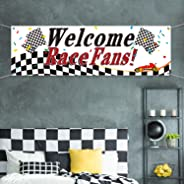 Blulu Racing Party Decorations, Welcome Race Fans Banner Racing Party Suppliers Race Car Banner Garland Backdrop Photo Booth