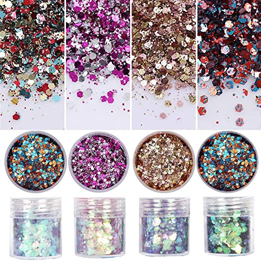 8 Colors Chunky Glitter Nail Sequins Iridescent Flakes Colorful Mixed Paillette Face Body Hair Nail Art mermaid Makeup