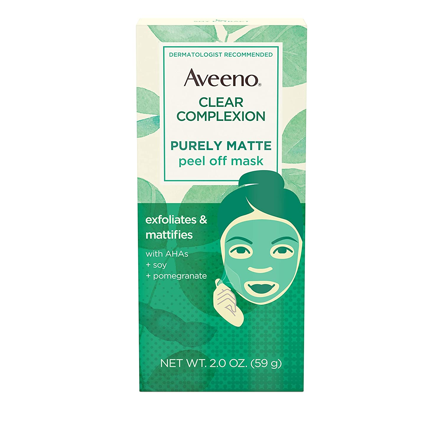 Aveeno Clear Complexion Pure Matte Peel Off Face Mask with Alpha Hydroxy Acids, Soy & Pomegranate for Clearer-Looking Skin, Non-Comedogenic, Paraben- & Phthalate-Free, 2.0 oz (Pack of 2)