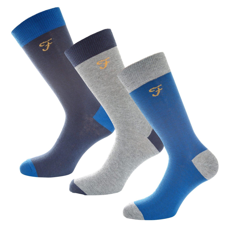 Farah Lot de 3 paires de chaussettes Cason Bleu Homme