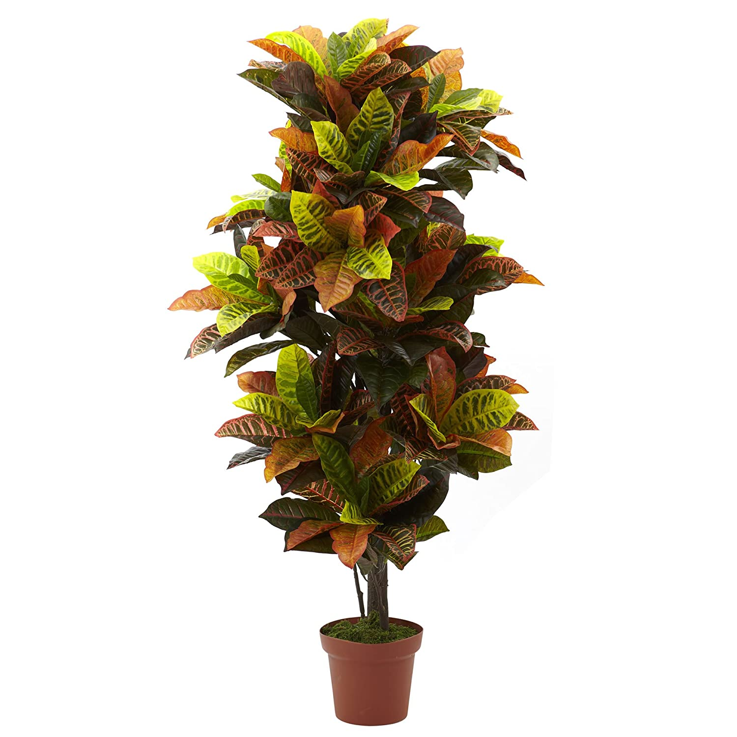 56-Inch Nearly Natural 6721 Real Touch Croton Artificial Plant Green//Orange