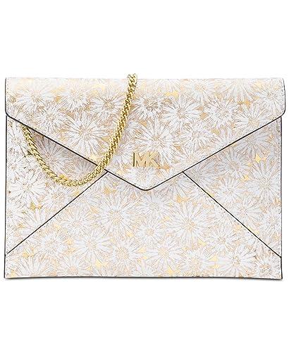 a04da0d74d8c MICHAEL Michael Kors Barbara Medium Soft Envelope Clutch (Optic White Gold)