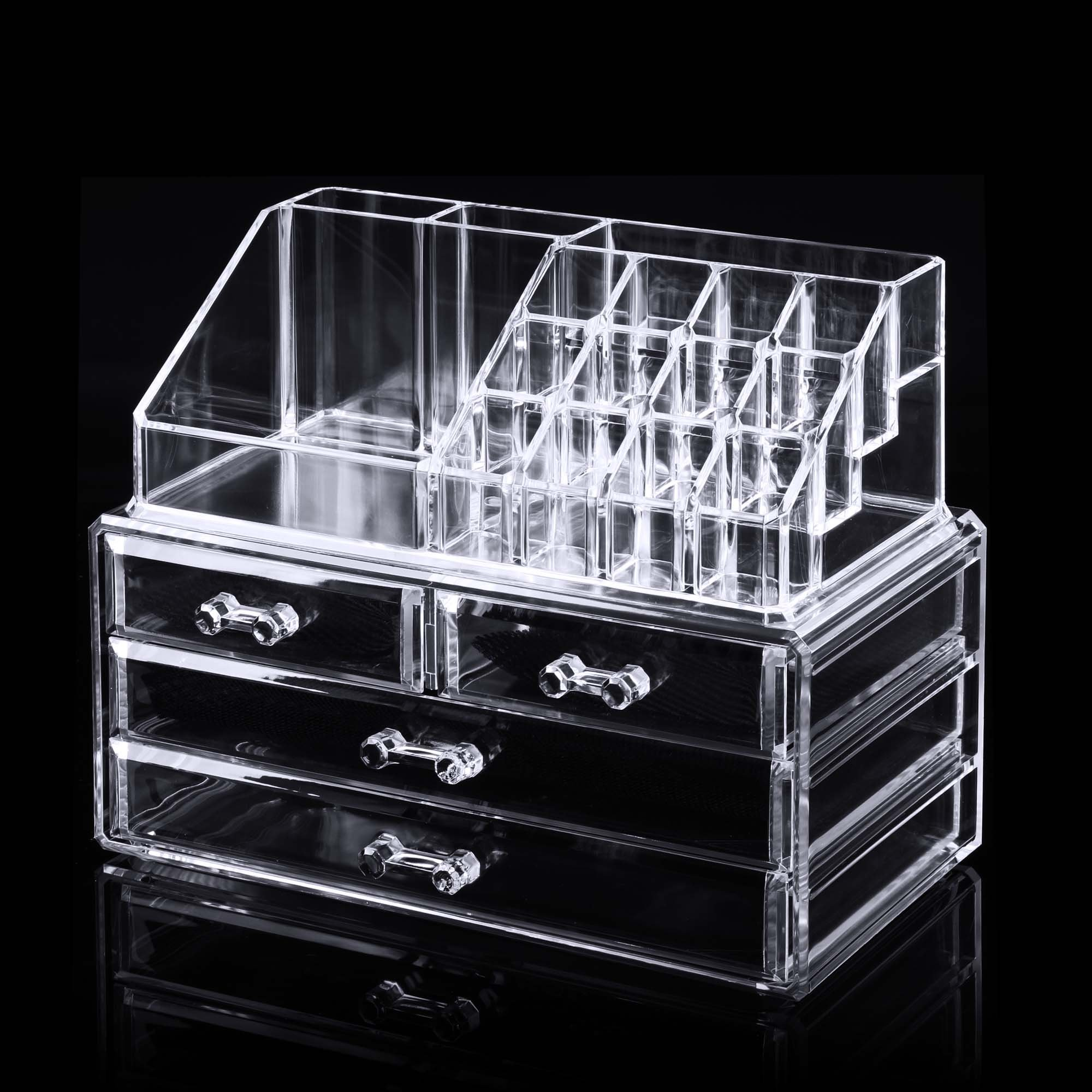 Flagup Makeup Organizer 4 Drawers Acrylic Jewelry Cosmetic Storage Display Box Case for Bedroom Bathroom
