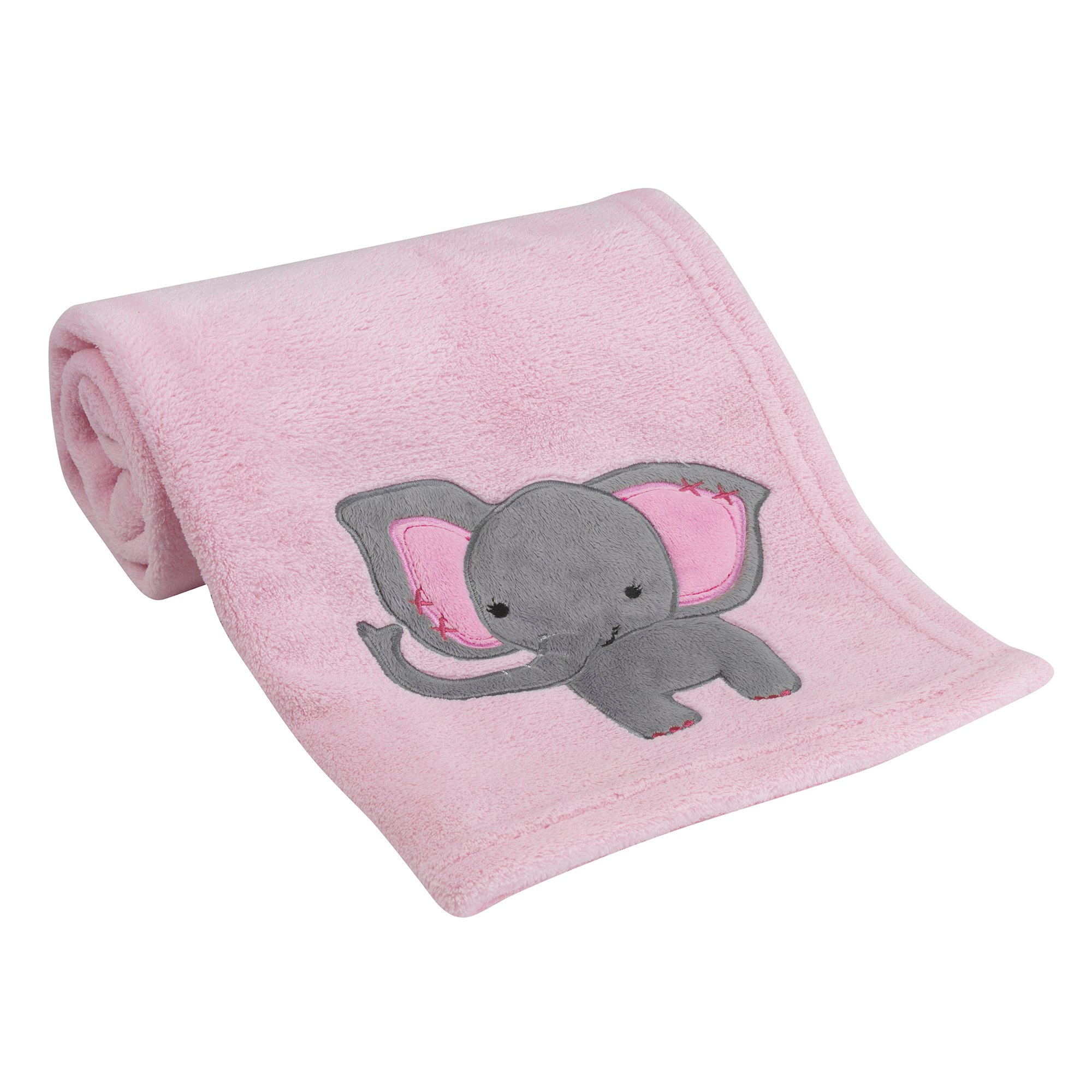Bedtime Originals Twinkle Toes Elephant Blanket, Pink/Gray