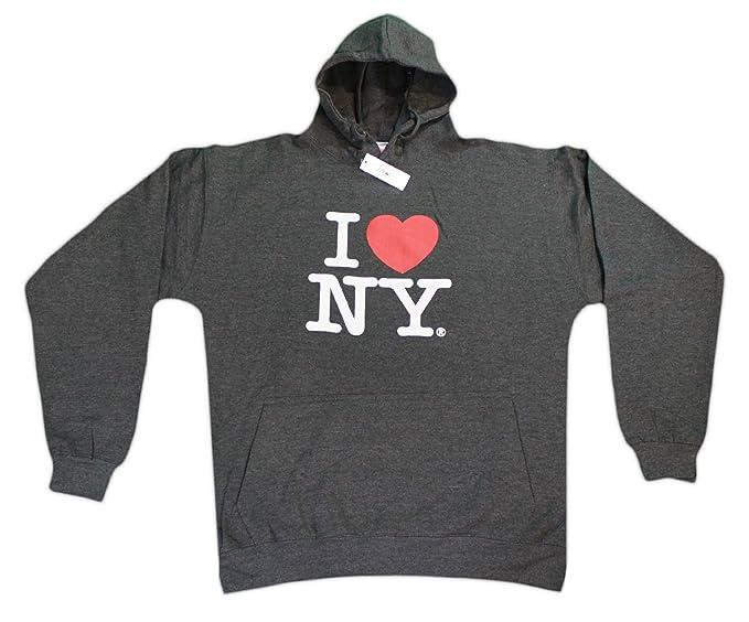 I Love Ny de Nueva York sudadera con capucha sudadera de corazón de impresión de pantalla gris: Amazon.es: Ropa y accesorios
