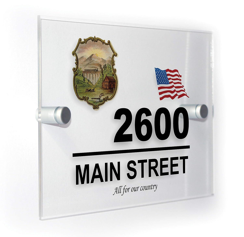 Premium Home Plaques Nevada US State USA District Symbol Crest Logo & Motto House Number Plaque America Sign