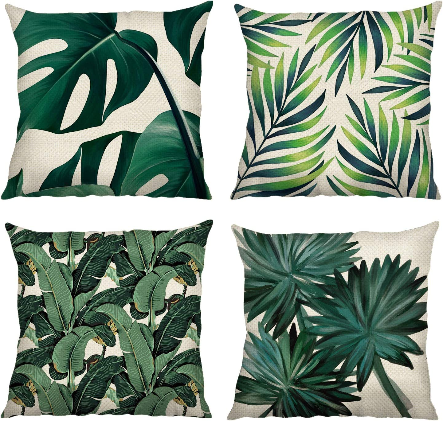 Amazon Com Bonhause Tropical Leaves Throw Pillow Covers 18 X 18 Inch Set Of 4 Green Leaves Decorative Throw Pillow Cases Cotton Linen Square Cushion Covers For Sofa Couch Car Bedroom Home Décor