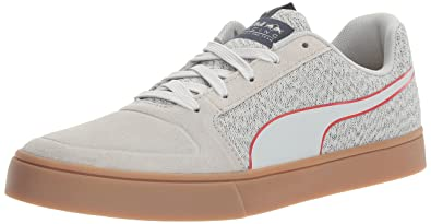 PUMA Men's Rbr Wings Vulc Suede Walking Shoe, Total Eclipse/Chinese Red/Spectra Yellow, 10.5 M US