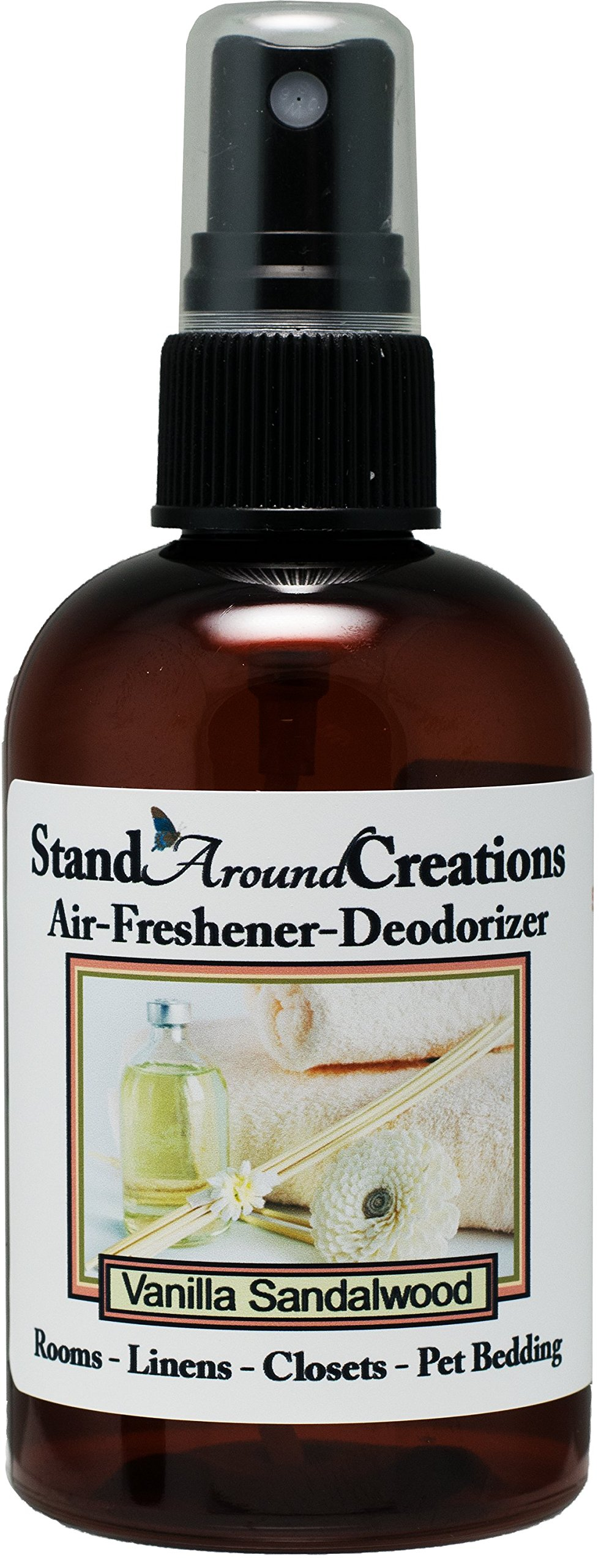 Concentrated Spray For Room / Linen / Room Deodorizer / Air Freshener - 4 fl oz - Scent - Vanilla Sandalwood: A beautiful combination of luscious rich vanilla, and Indian Sandalwood.