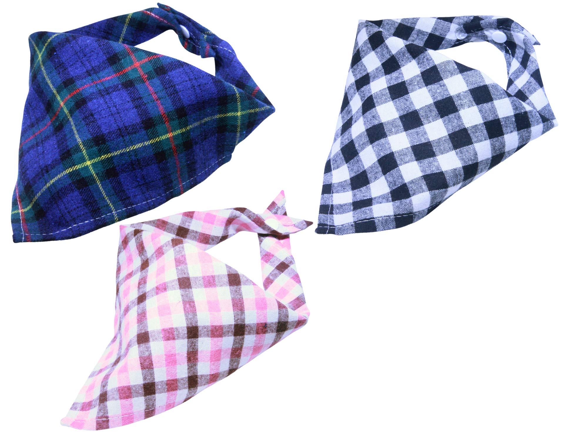 LuvFur Bib Scarf for Small Dogs and All Cats 3-Pack Snap-On Puppy Classic Bandanas Triangle – Washable
