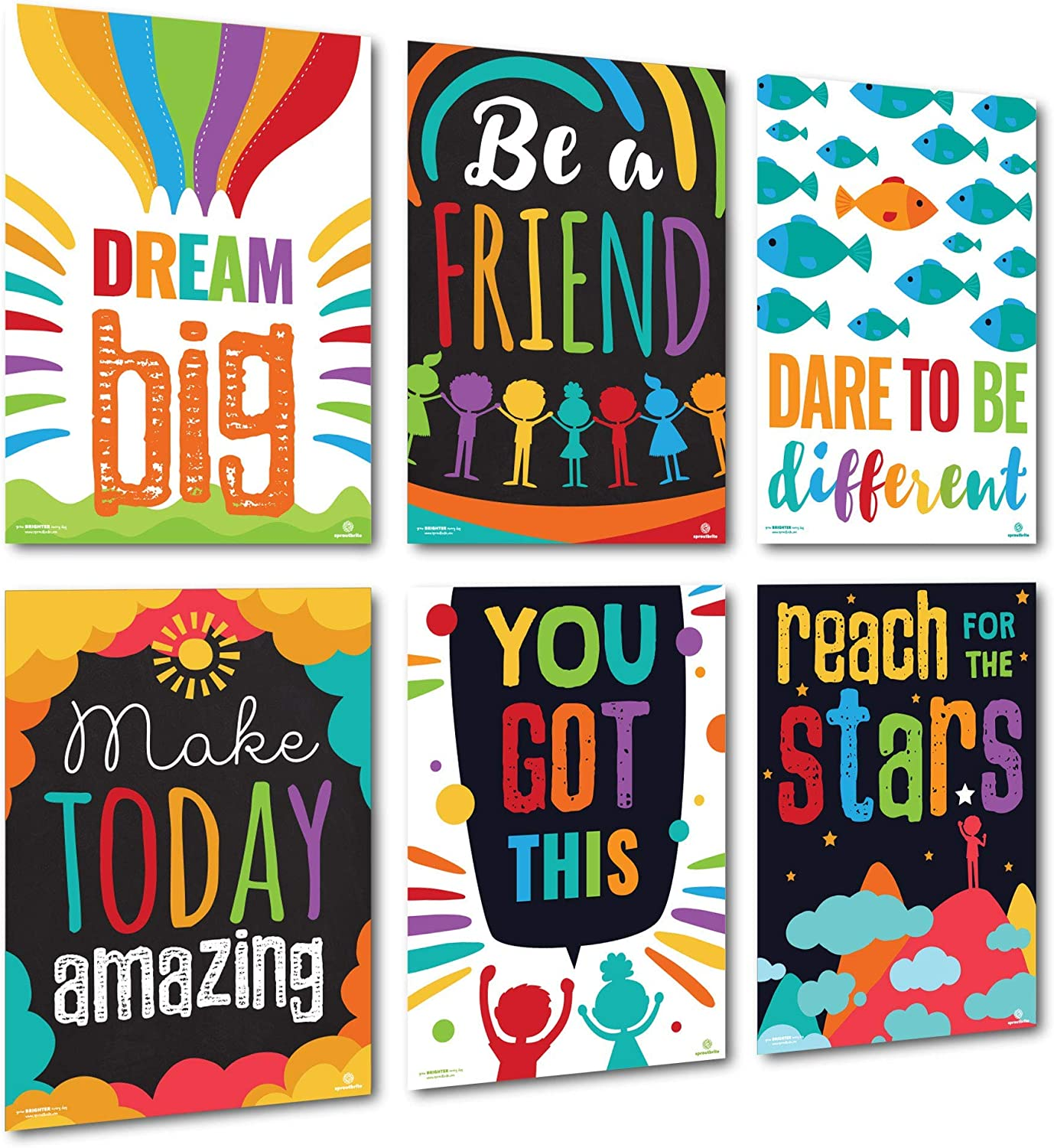 Sproutbrite Classroom Decorations - Posters for Teachers - Bulletin Board and Wall Decor for Pre School, Elementary and Middle School