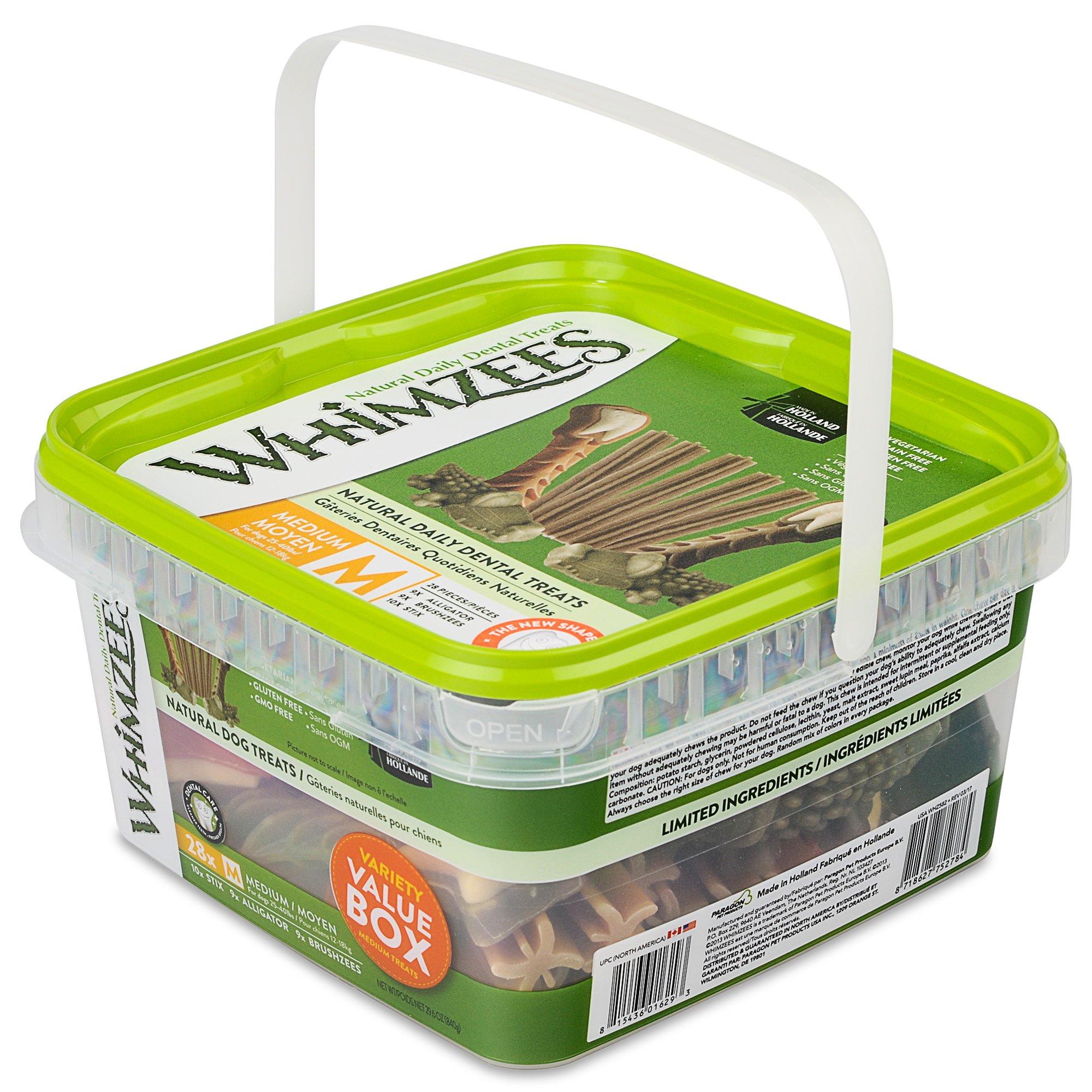Whimzees Natural Grain Free Daily Dental Dog Treats, Medium Variety Pack, Box of 28