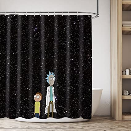 Rick And Morty Kids Shower Curtain Set Funny Cartoon Star In Black Sky Panel