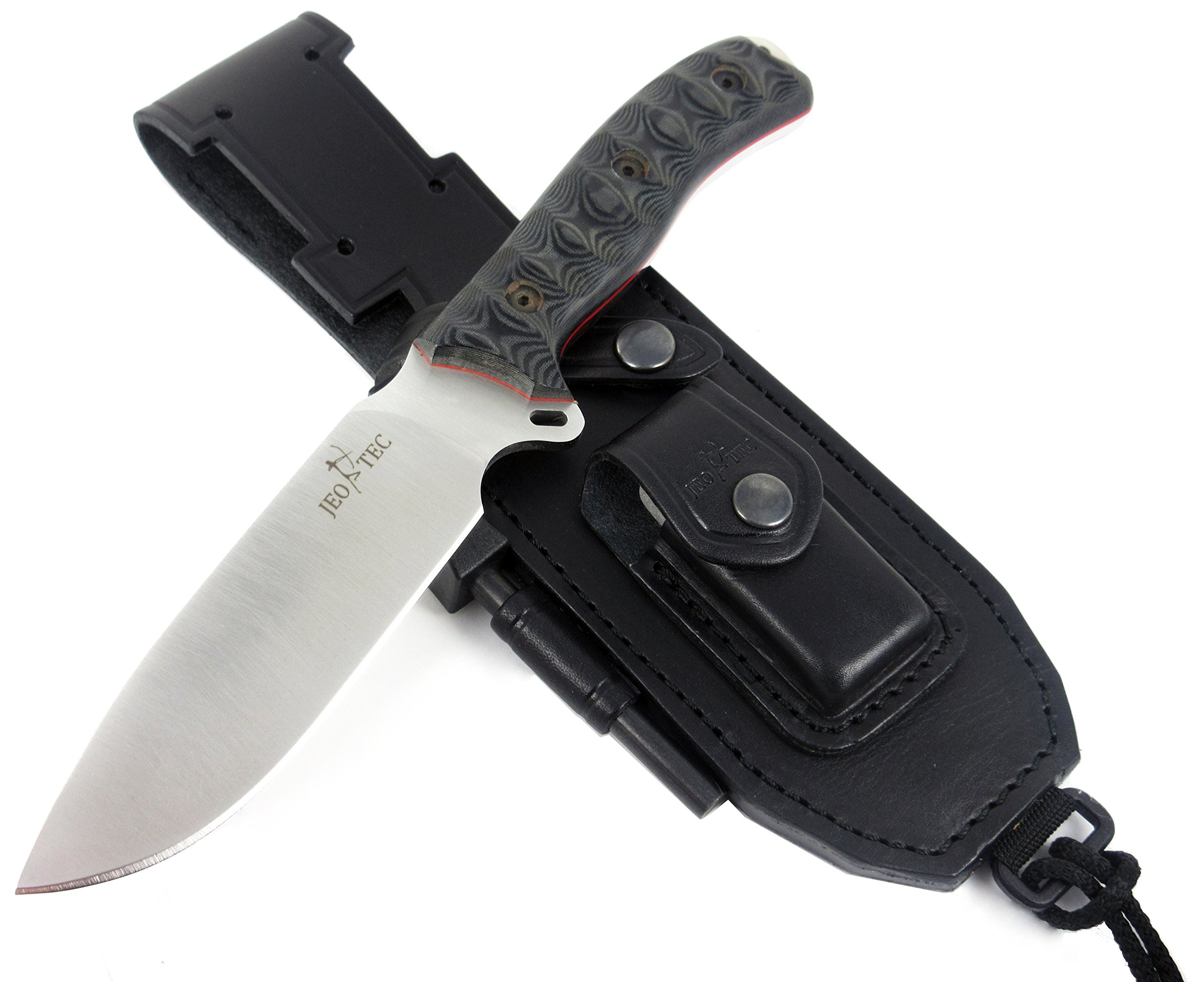 JEO-TEC Nº7 Outdoor, Survival, Hunting Knife - BOHLER N690C Stainless Steel, Multi-positioned Leather Sheath, Sharpener Stone & Firesteel - Handmade in Spain