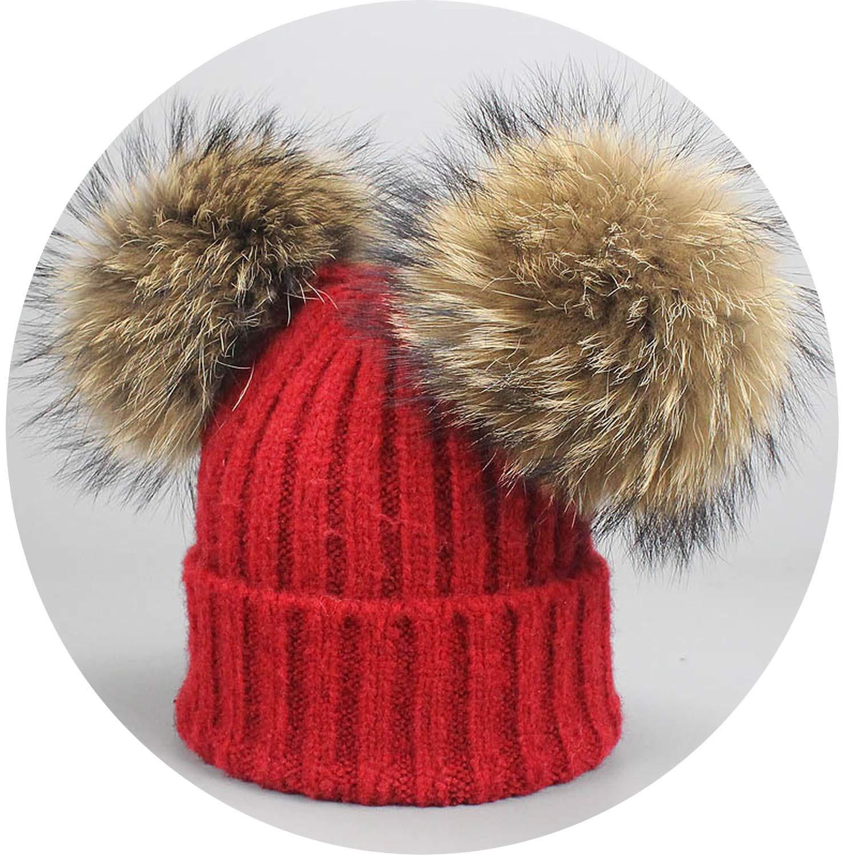 Amazon.com  Winter Wool Cotton Hats Girls Real Mink Fur Two Pompom ... 8613f42dc