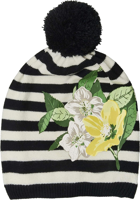 GULLIVER M/ädchen M/ütze Herbst Winter M/ütze Strick Schwarz Wei/ß Gestreift mit Blumen mit Bommel 3 5 Jahre 52 cm 54 cm