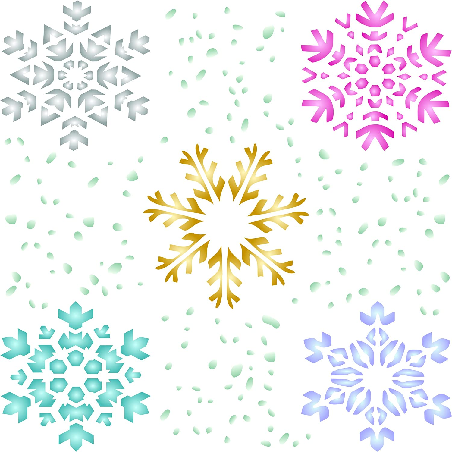 11.5 x 11.5cm S Use on Paper Scrapbook Bullet Journal Walls Floors Fabric Furniture Glass Wood etc. - Reusable Christmas Stencil Template for DIY Cards Decorations Projects Snowflake Stencil