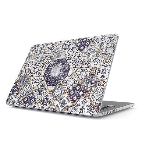 BURGA Funda para MacBook Air 13 3 Pulgadas, Modelo: A1466 / A1369 Oro Blanca White and Gold Marrakesh Mosaic Dura Carcasa Rígida