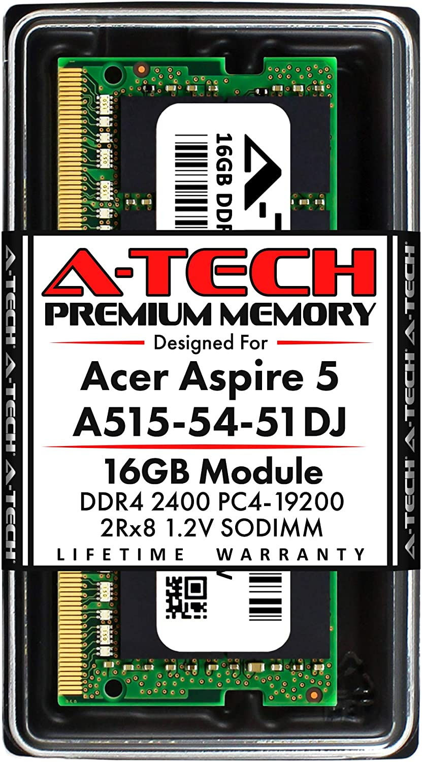 A-Tech 16GB RAM for Acer Aspire 5 Slim Laptop A515-54-51DJ | DDR4 2400MHz SODIMM PC4-19200 260-Pin CL17 1.2V Non-ECC Unbuffered Memory Upgrade Module