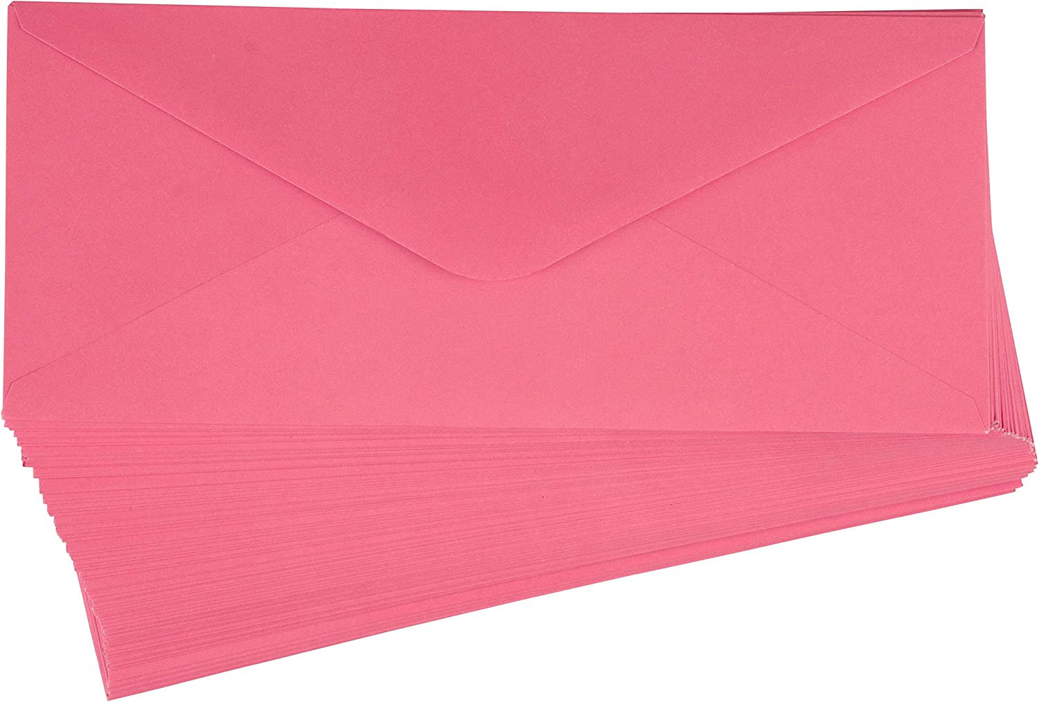 Business Envelopes - 96-Pack #10 Envelopes, V-Flap Envelopes for Holiday, Office, Checks, Invoices, Letters, Mailings, Windowless Design, Gummed Seal, Bright Pink, 4-1/8 x 9-1/2 Inches