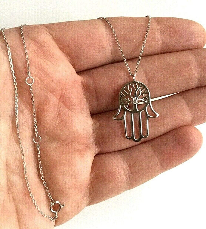 """ESN09 Cadena Mano de Fatima plata 925 Silver Hamsa Hand Necklace18/"""" long"""