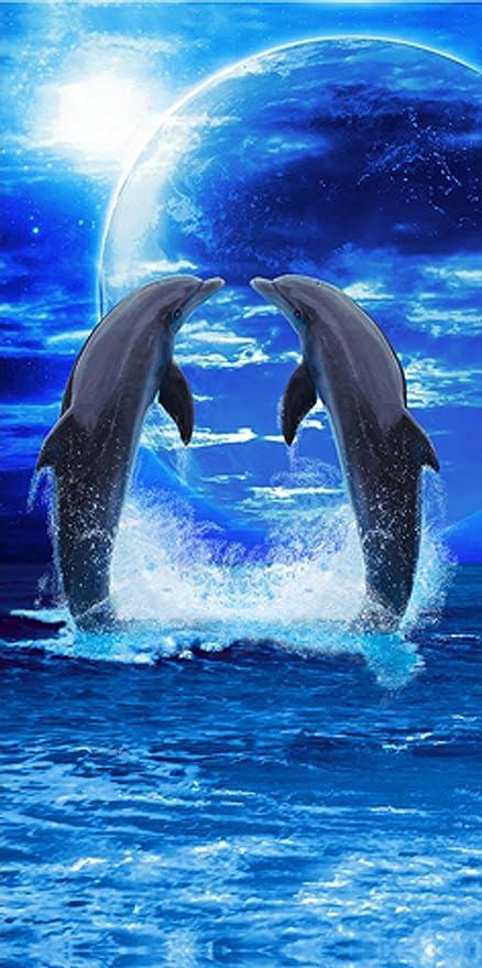 100% algodón toalla de playa (75 x 150 cm) – Delfines