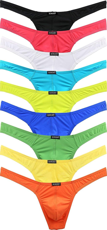 iKingsky Men's Thong Underwear Sexy Low Rise T-Back Under Panties