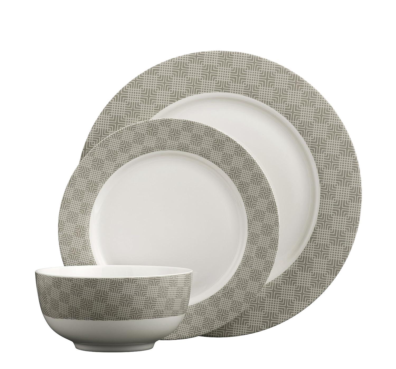 Aynsley Merino Dinner Set, Brown, Set of 12 Belleek Pottery MENO40011