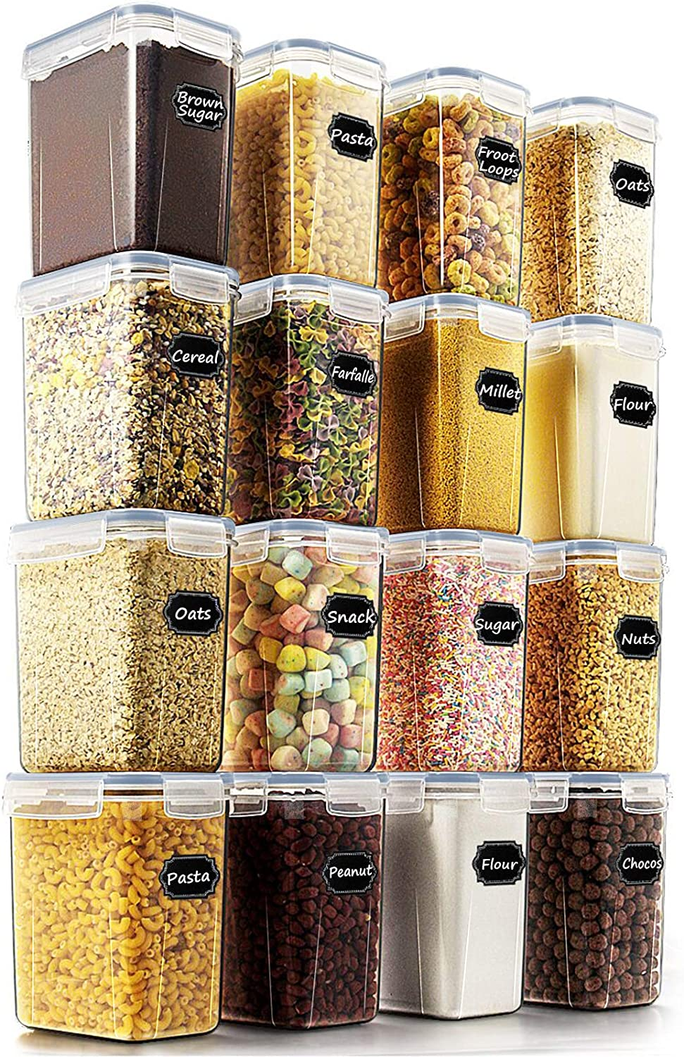Airtight Food Storage Containers - Wildone Cereal & Dry Food Storage Container Set of 16 [1.6L /1.5qt] with Grey Lids for Flour and Baking Supplies, Leak-proof & BPA Free, with 20 Labels & 1 Marker