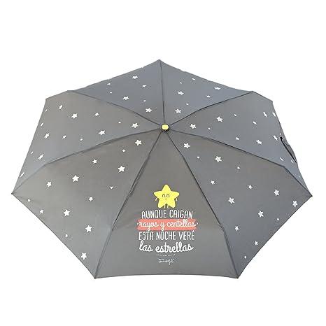 """Mr. Wonderful Paraguas Pequeño, Diseño""""Aunque Caigan Rayos y ."""","""