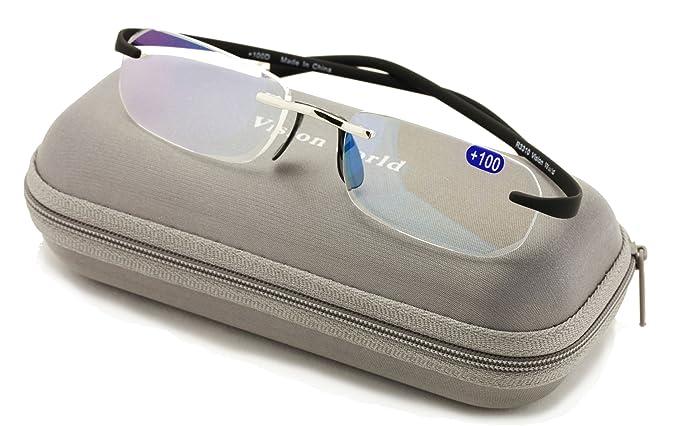 56d2577ebddd V.W.E Rectangular Rimless Memory Flex Temple Reading Glasses With  Anti-reflective AR Coating (Black