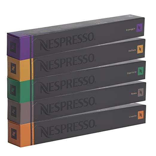 NESPRESSO Espresso Surtido 50 Cápsulas - 10 Cápsulas Volluto, 10 Cápsulas Livanto, 10 Cápsulas Capriccio, 10 Cápsulas Roma, 10 Cápsulas Arpeggio