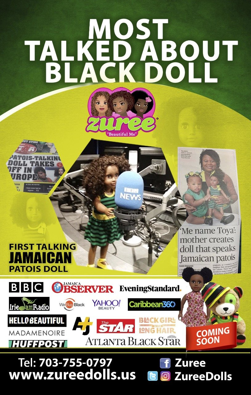 "Talking Jamaican Black Doll 18/"" inch Toya Patois Patwa ZUREE"