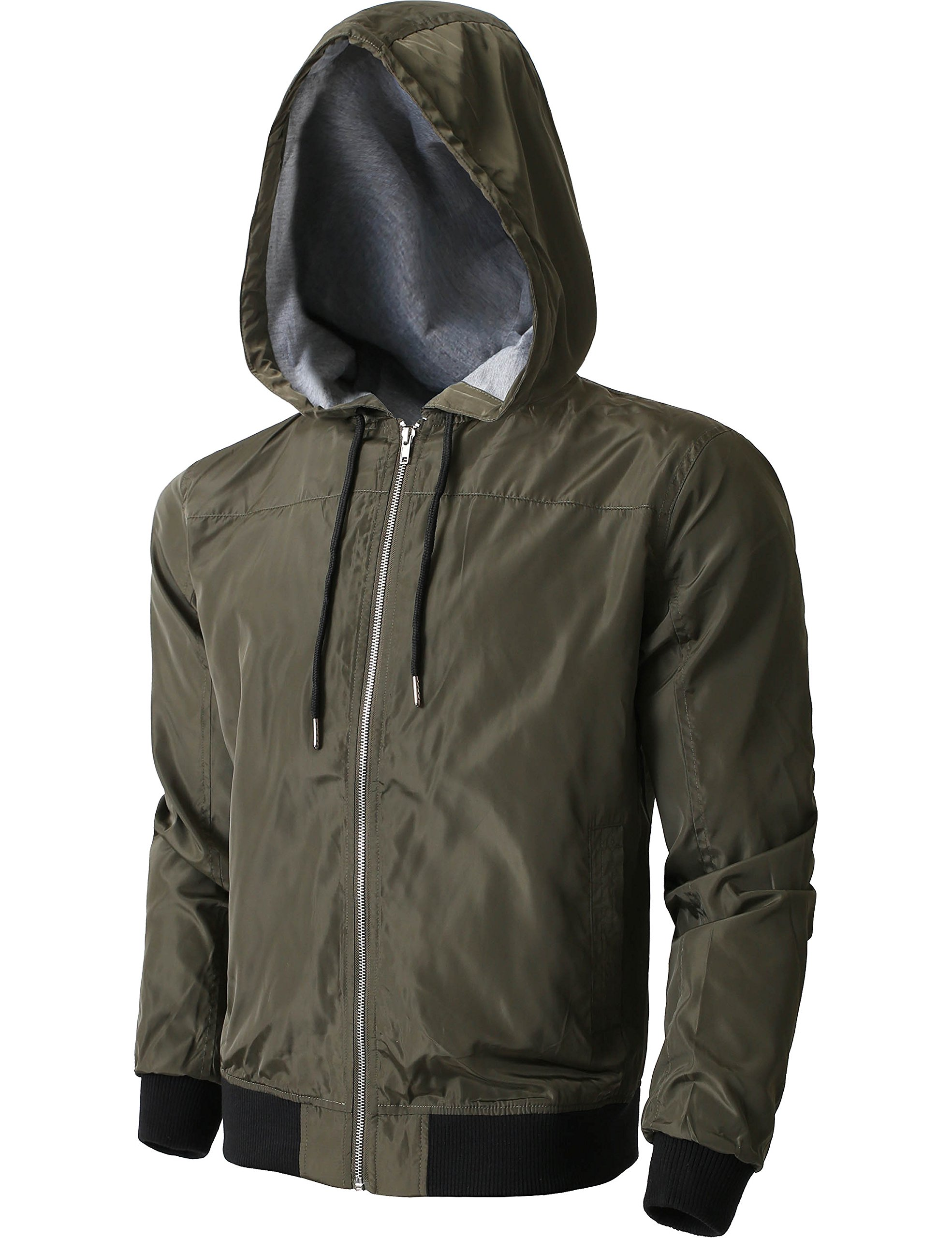 Hat and Beyond Active Lightweight Windbreaker Jackets Casual Slim Fit Sweatshirts (Large, Green)