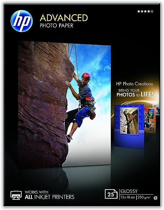 HP Advanced Q8696A- Papel fotográfico satinado con brillo (25 ...