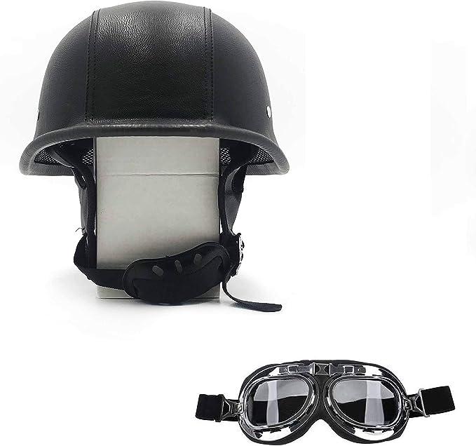 DOT German Motorcycle Helmet Half Face w//Goggles for Scooter Chopper Street Bike