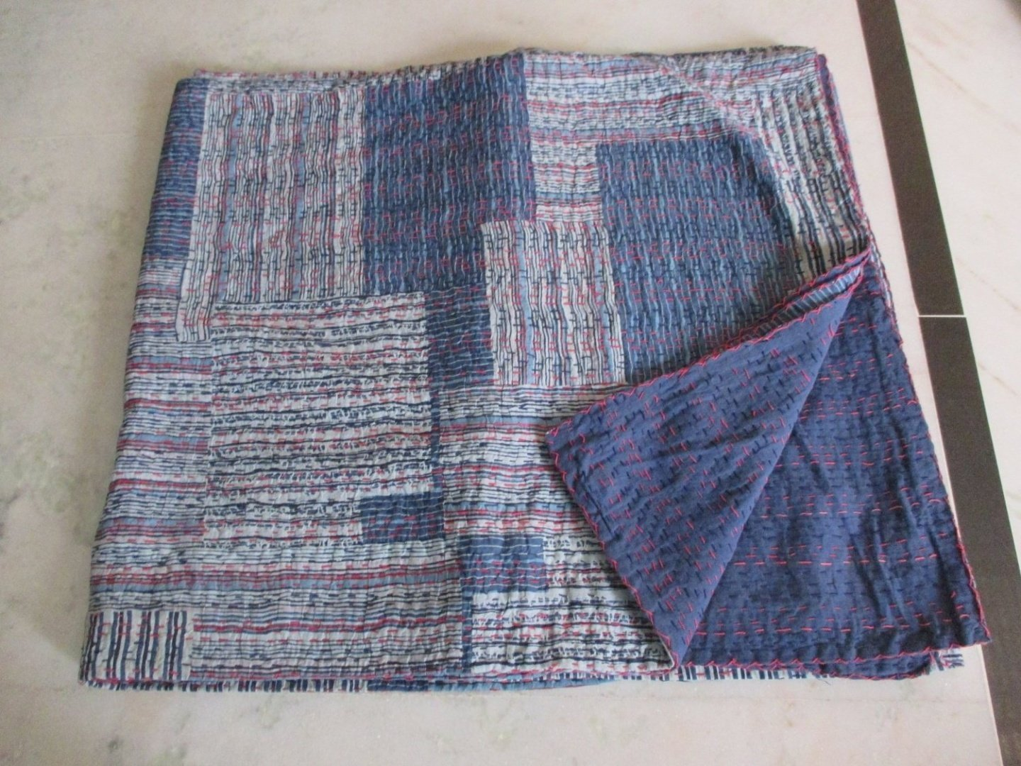 Tribal Asian Textiles Indigo Color Hand Block Printed Kantha Quilt, Queen Size Patchwork Cotton Bedspread, Made By Artisians of India