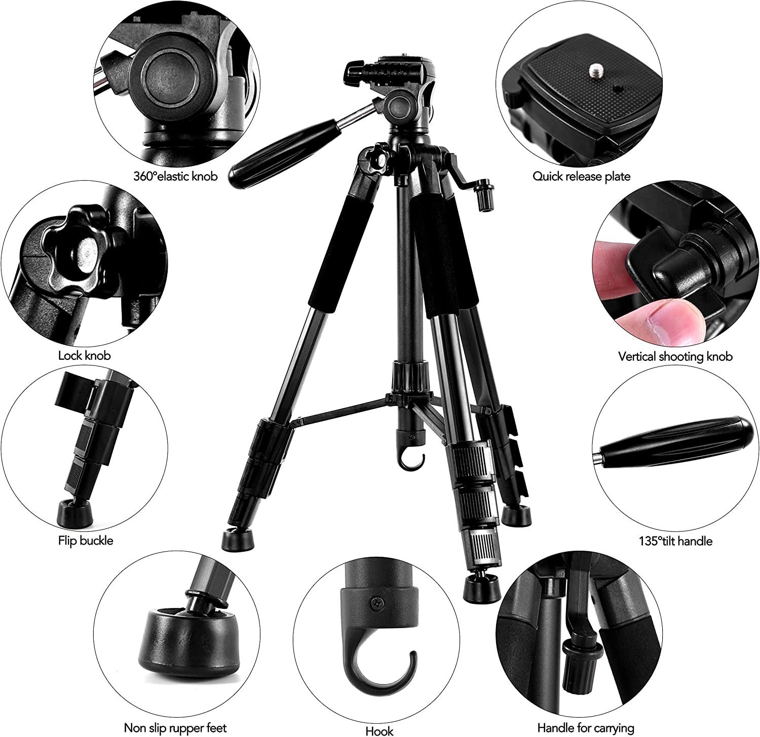 "55/"" Camera Tripod Travel Portable Compact Lightweight Camera SLR Ball Aluminum Tripods with 1//4 Plate,Bubble Level,Universal Phone Mount,Handle and Carry Bag for Canon Nikon Sony"