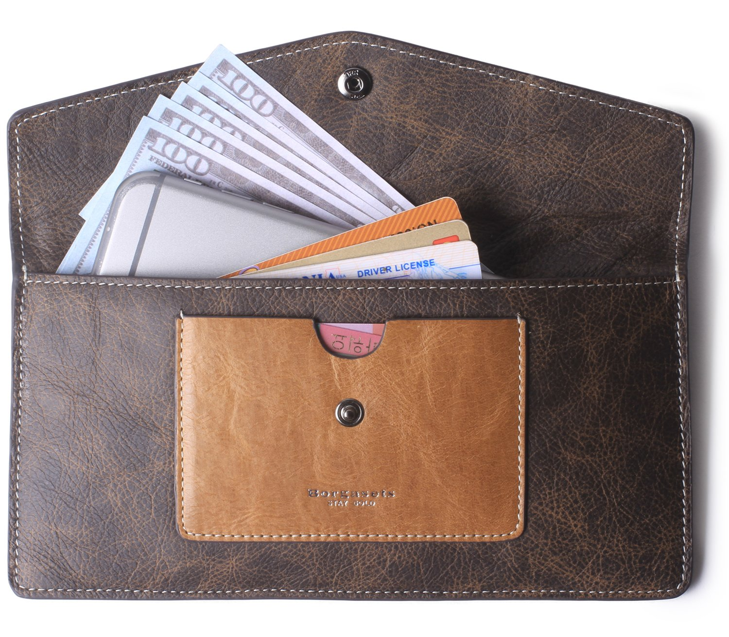 Borgasets Women's Wallet Leather RFID Blocking Ultra-thin Envelope Ladies Purse Travel Clutch with ID Card Holder and Phone Pocket Coffee